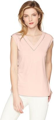Calvin Klein Women's Sleeveless V Neck TOP with Pearl Detail