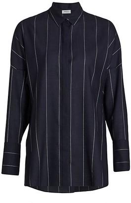 Akris Punto Vertical Stripe Wool-Blend Collared Blouse