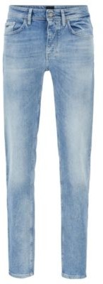 HUGO BOSS Tapered Fit Jeans In Distressed Bright Blue Stretch Denim - Turquoise