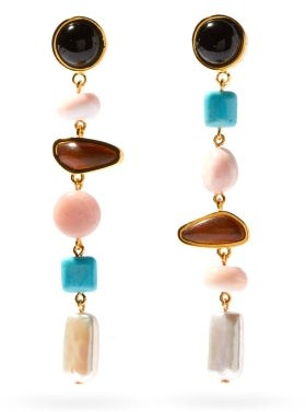 Lizzie Fortunato Heroine Gemstone And Gold-plated Drop Earrings - Multi