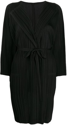 Pleats Please Issey Miyake Plisse Belted Cardigan