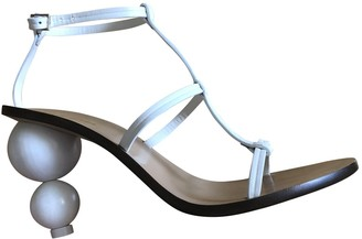 Cult Gaia White Leather Sandals