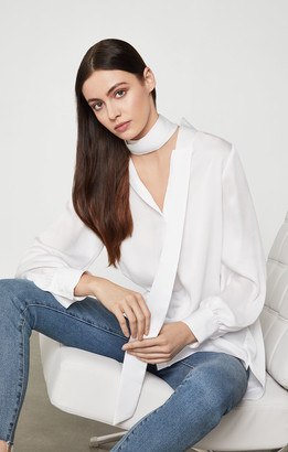 BCBGMAXAZRIA Bell Sleeve Satin Top