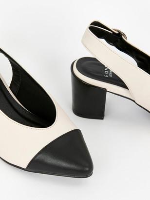Evans Wide Fit Flo Colour Block Slingback - Black/White