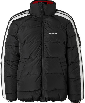 Balenciaga Logo-Print Striped Quilted Padded Shell Jacket