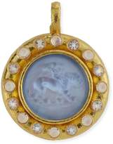 Elizabeth Locke Cupid Riding Lion Venetian Glass Intaglio Pendant, Cerulean