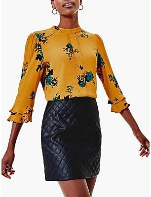 Oasis Floral Fluted Sleeve Top, Multi