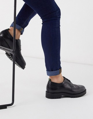 Walk London sean brogues in smooth black