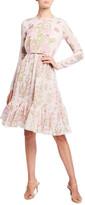 Thumbnail for your product : Giambattista Valli Floral Print Ruffle Hem Silk Dress