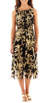 J Taylor Danny & Nicole Sleeveless Ruched-Waist Gold Foil-Print Dress
