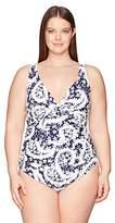 Anne Cole Women's Plus Size Shoulder Floral One Piece Swimsuit