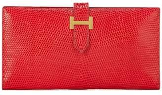 Hermes Rouge Tomate Lizard Skin Bearn Wallet