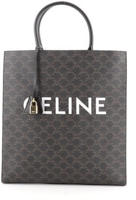 Celine Vertical Cabas Tote Triomphe Coated Canvas Large