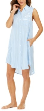 Miss Elaine Striped Sleeveless Sleep Shirt Nightgown