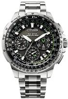 Citizen Cc9030-51e Promaster Navihawk Gps Chronograph Date Bracelet Strap Watch, Silver/black