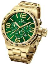 TW Steel Canteen Unisex Quartz Watch with Green Dial Chronograph Display and Gold Stainless Steel Gold Plated Bracelet CB223