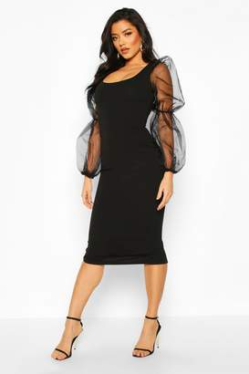 boohoo Scoop Neck Bodycon Dress With Organza Puff Sleeve