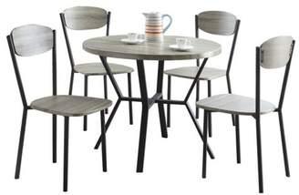 Benzara 5pc Round Dining Table & Chair Gray/Black