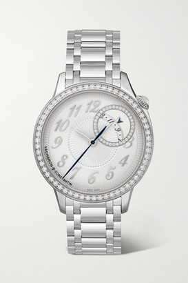 Vacheron Constantin Egerie Automatic 35mm Stainless Steel And Diamond Watch - Silver