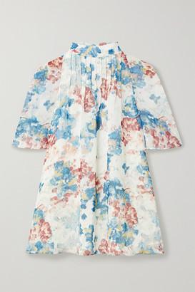 ARIAS Cutout Pintucked Floral-print Chiffon Blouse - White