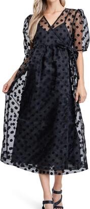 En Saison Dot Organza Midi Dress
