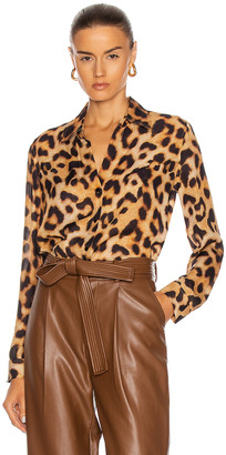 L'Agence Nina Long Sleeve Blouse in Brown & Black Leopard | FWRD
