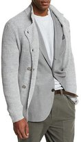 Brunello Cucinelli Double-Breasted Shaker-Knit Cardigan, Light Gray