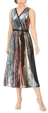 Julia Jordan Sequined-Stripe Midi Dress