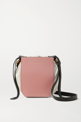 Marni Gusset Mini Patent-leather And Shell Shoulder Bag - Pink