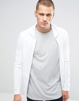 Asos Light Weight Jersey Muscle Zip-Up Hoodie In White