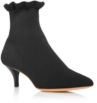 Loeffler Randall Women's Kassidy Pointed Toe Knit Mid Heel Booties