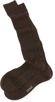 Pantherella Over-the-Calf Ribbed Lisle Socks, Brown