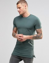 Asos Longline Muscle T-Shirt With Side Zips In Green