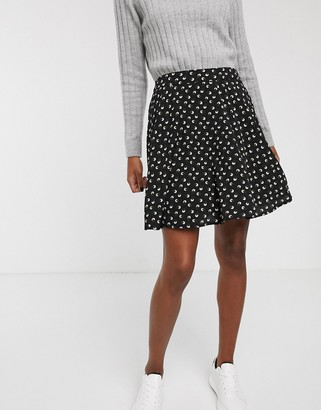 Vila ditsy flippy skirt-Black
