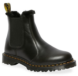 Dr. Martens 2976 Leonore Faux Fur-Lined Leather Chelsea Boots