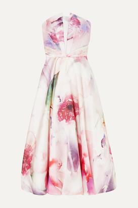 Marchesa Strapless Floral-print Mikado Pique Gown - Blush