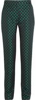 Mary Katrantzou Agate Satin-jacquard Straight-leg Pants - Emerald