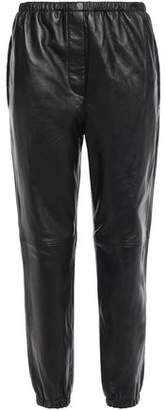 3.1 Phillip Lim Cropped Gathered Leather Track Pants