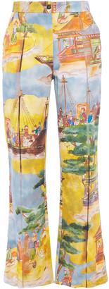 Stella Jean Printed Cotton-blend Canvas Kick-flare Pants