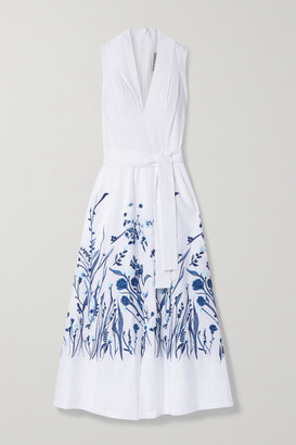 Lela Rose Belted Embroidered Cotton-poplin Midi Dress - White