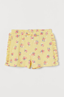 H&M Ruffle-trimmed Shorts - Yellow