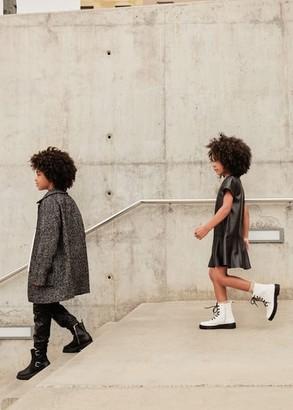MANGO Herringbone flecked coat black - 11-12 years - Kids