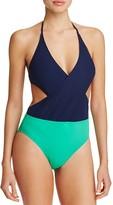 Tory Burch Color-Block Wrap One Piece Swimsuit