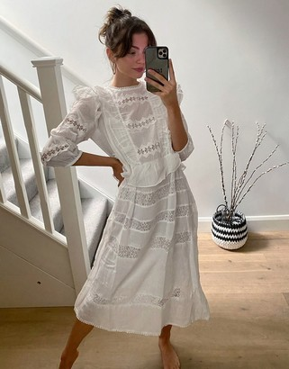 Object midi dress with lace inserts in white