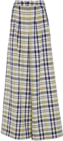 ADAM by Adam Lippes Plaid Cotton and Linen Wide Leg Pant