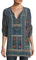 Tolani Aster 3/4-Sleeve Printed Silk Long Tunic