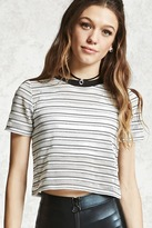 Forever 21 FOREVER 21+ Striped Mesh Cropped Tee