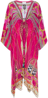 Camilla Gathered Embellished Printed Silk Crepe De Chine Coverup