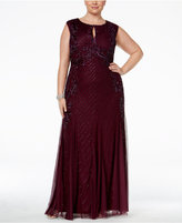 Adrianna Papell Plus Size Beaded Keyhole Gown