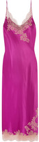 Carine Gilson Lace-trimmed Silk-twill Nightdress - Magenta